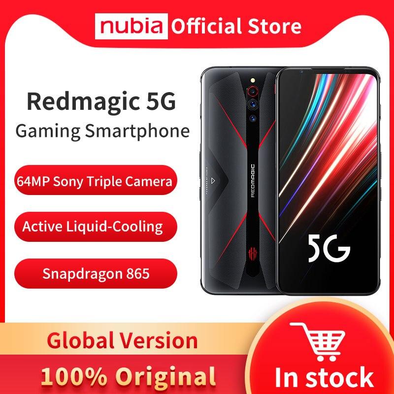 Глобальная версия Nubia красный Магия 5G мобильного телефона 6,65 inch 8/12 Гб Оперативная память 128/128GB Snapdragon 865 Android 10 игровой чехол для телефона