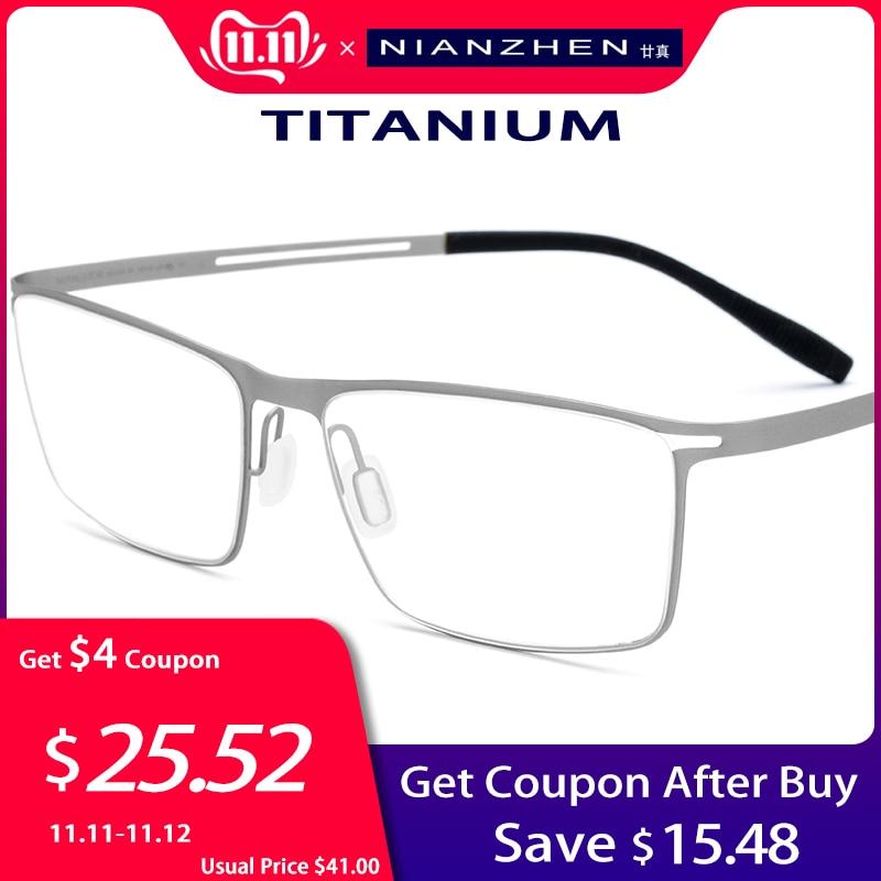 B titane lunettes cadre hommes 2019 carré myopie optique cadres lunettes pour hommes mémoire lumière coréen sans vis lunettes 1175