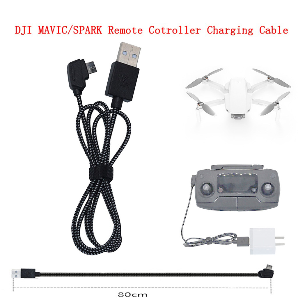 Fast Charging Charger USB Cable Nylon Line Connect Port 80cm Adapter Lead Wire For DJI Mavic Mini Pro Air 2 Spark Remote Control