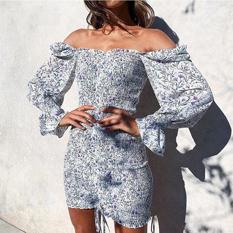 2020 Trendy Square Neck Floral Print Dress Women Long Sleeve Bodycon Mini Dress Boho Beach Dress for Girls Party Clothing 13