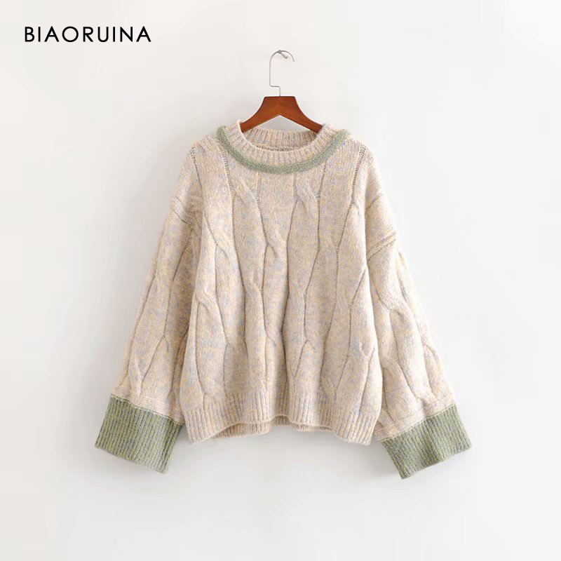 BIAORUINA Women's Hit Color Winding Knit Sweater Thick Keep Warm Female Winter Loose Oversized Pullovers O-neck Women Fashion