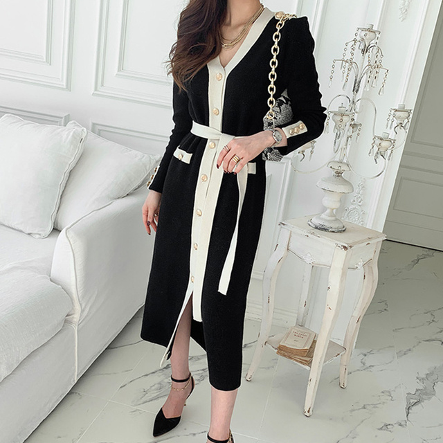Korean Chic French Dress V-neck Dress Woman Lace Contrast Color Chic Single Breasted Tie Waist Cardigan Knitted Dress 2