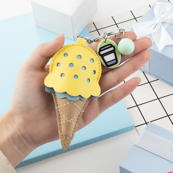 Cute Key Chain Girl Women Kawaii Ice Cream Keychains Pig Key Rings Holder For Bag Charms Pendant Best Gift For Friend Jewelry image