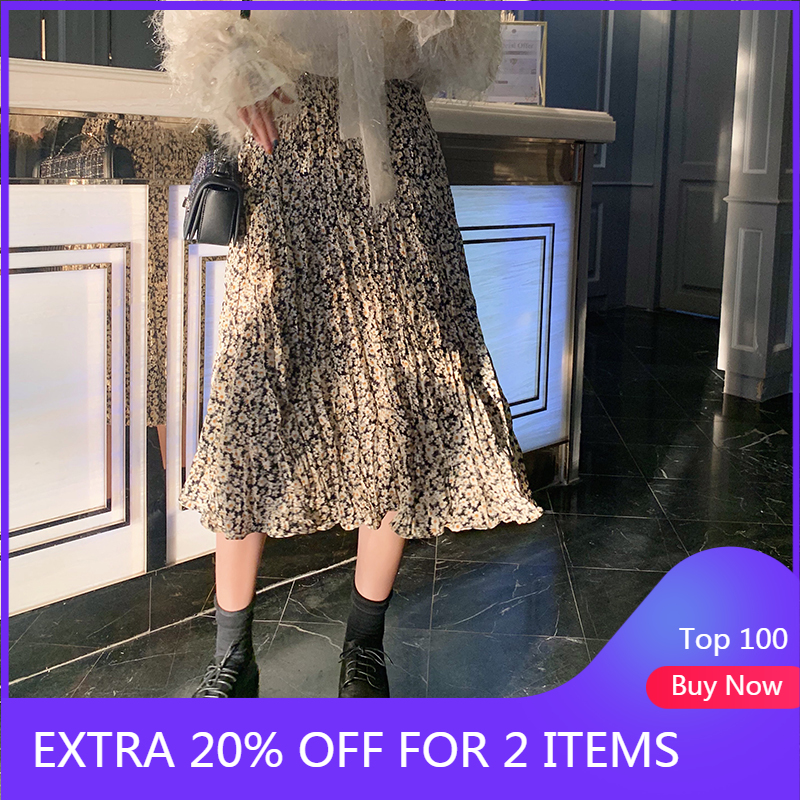 MISHOW 2020 Spring New Skirt Women Floral Mid Calf High Waist Casual A Line Elegant Female Bottoms MX20A1895