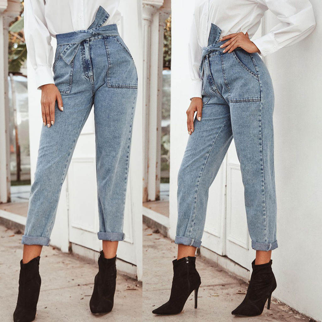 Jeans Woman Casual Denim Bow Pants Belt Bandage Vintage boyfriend jeans for women mom Trousers Loose Pants Jeans mujer 2020 S10