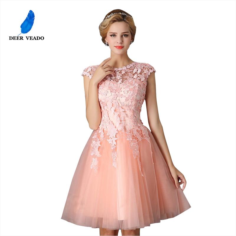 DEERVEADO T402 Short Prom Dresses Elegant A-Line Red Prom Dress Gown Formal Party Dresses Evening Gown Vestido De Festa
