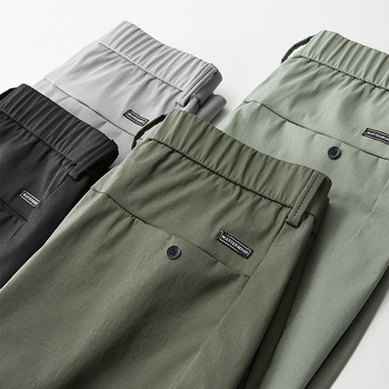 Spring Summer New Casual Pants Men Cotton Slim Fit Thin Fashion Gray ArmyGreen Black Comfortable Trousers Male Brand Clothing