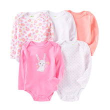 2019 kids rompers 5Pcs lot Boys girls Rompers cartoon long Sleeve infant Jumpsuit Baby Rompers Newborn Clothes pink rabbit cheap NTYSX kids Polyester COTTON Print O-Neck Covered Button Unisex Full H0727 Fits true to size take your normal size