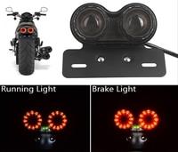Vehemo Tail Motorcycle Light Luz LED Moto Light Plastic DC 12V faros Generic License Plate Stop Brake luces para ATV Chopper