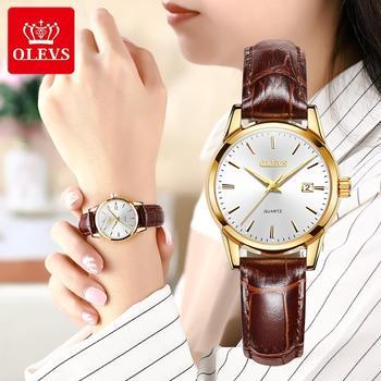 OLEVS Top Brand Quartz Women Watches Waterproof Leather Strap Fashion Women Watch Date Clock 1