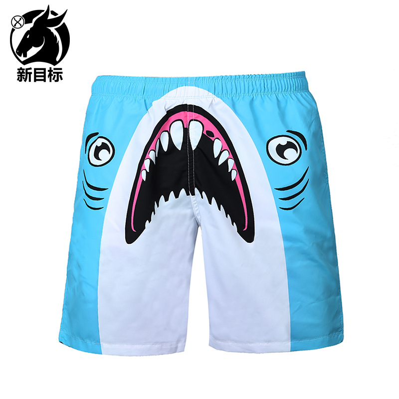 Foreign Trade 2019 Spring And Summer New Style Men'S Wear 3D Printed Beach Shorts Digital Shark Swimming Trunks Popular Brand Fa