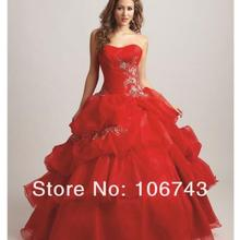 2018 new design hot vestido de festa longo red ball bridal gown custom lace up beading appliques