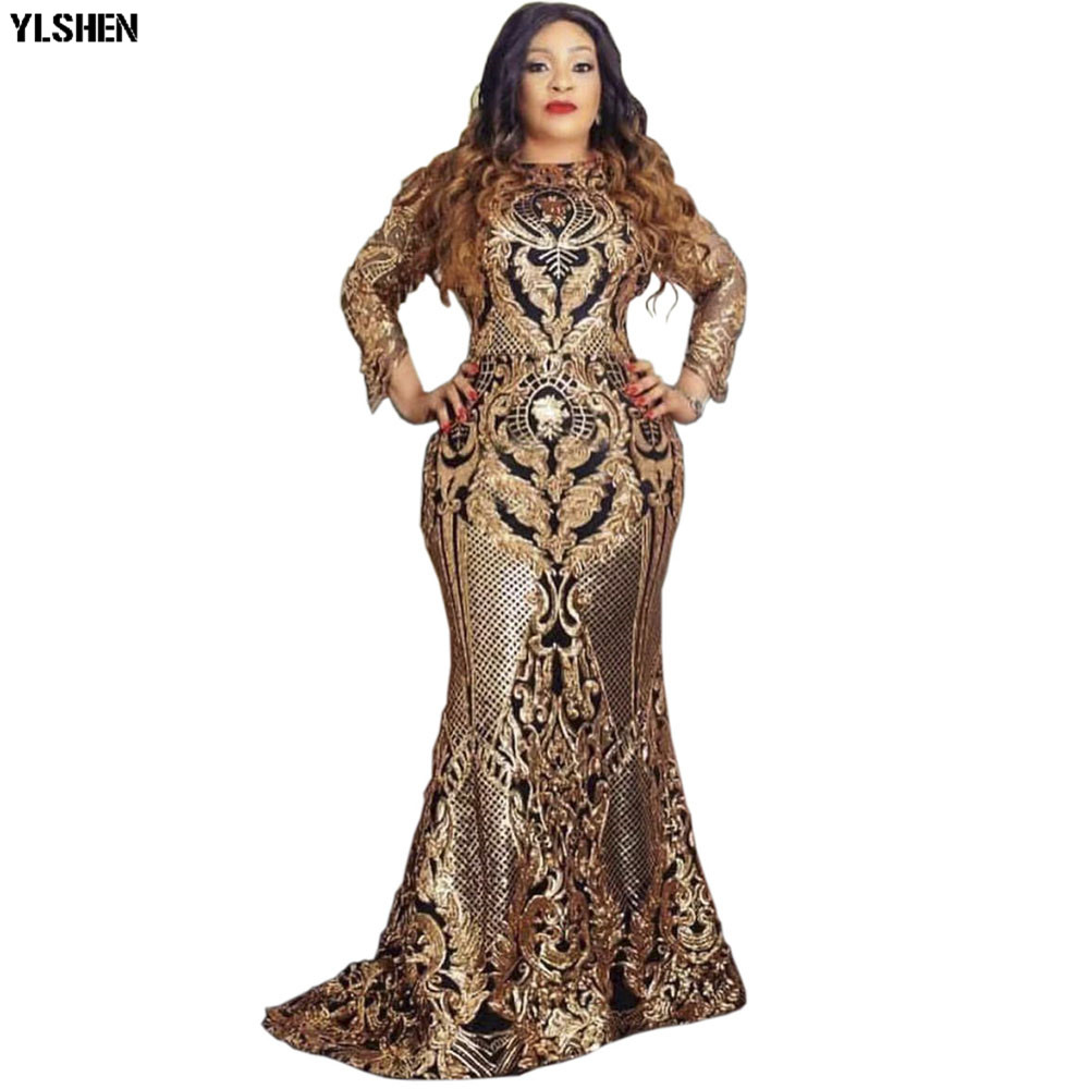 Sequins Africa Dress African Dresses For Women New Style Dashiki Bodycon Evening Party Dress Robe Africaine Vetement Femme 2019