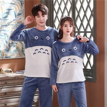Autumn Winter Coral Velvet Couple Pajamas Set O-Neck Plus Size Home Service Suit Casual Women Sleepwear Nightwear