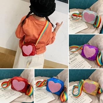 Summer Fashion New Bag Kids Children Girls Handbag Zipper PU Leatehr Shiny Heart Print Crossbody Shoulder Messenger Bag
