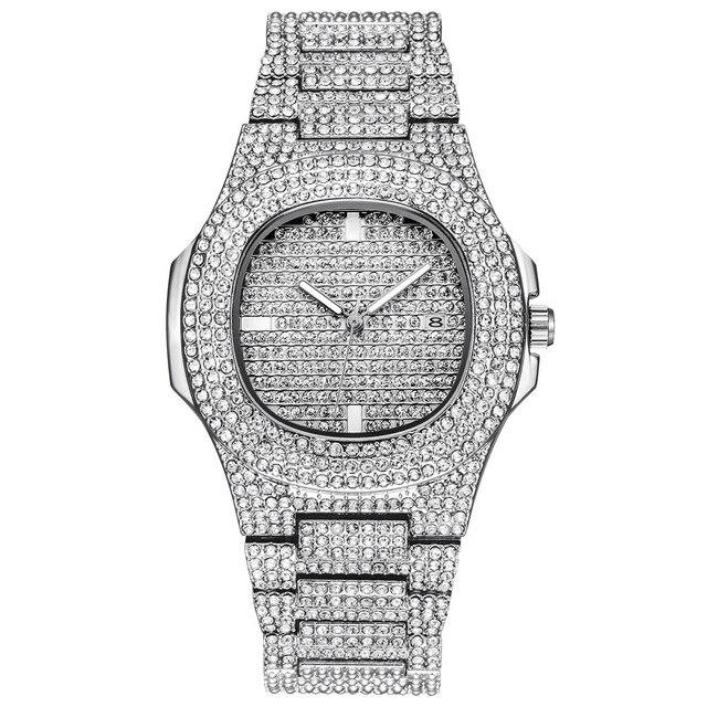 Collar de oro, reloj y pulsera, cadena cubana de Miami Curb, diamantes de imitación incrustados, joyería CZ para hombres 6