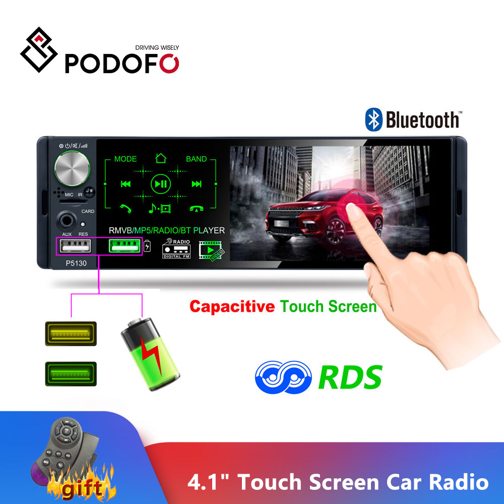 Podofo 4.1 Touch Bluetooth Car Radio 1 Din Autoradio Stereo Audio MP5 Video Player USB MP3 TF ISO In-dash Multimedia Player image