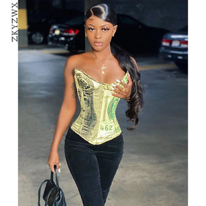 ZKYZWX Sexy Money Corset Top To Wear Out for Women Trendy Y2k Clothes Night Club Outfits Backless Vintage Cute Tank Bustier