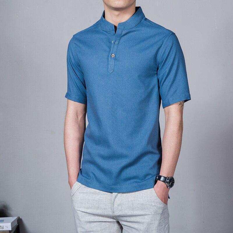2020! Camiseta Con Cuello Levantado Para Hombre De Manga Corta De Color Sólido Estilo Chino Camisetas De Lino De Talla Grande 5X