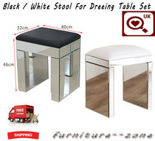 New Mirrored Glass Furniture Stool With Faux Leather Dressing Table
