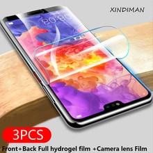 3pcs hydrogel film for huawei P20 P20pro P20lite Front+Back+Camera lens P30 P30pro P30lite Psmart 2018 protector