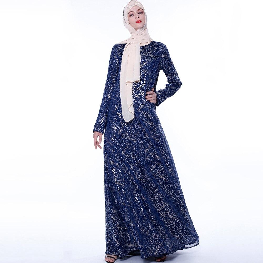 Nouveau haut de gamme mode or estampillé dubaï longue robe avec col rond musulman longue robe abayas arabe robe de luxe Dubai vêtements