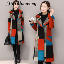 Women Woolen Coat 2019 Winter Retro Plaid printing Breasted Turn-down Collar Pocket Female