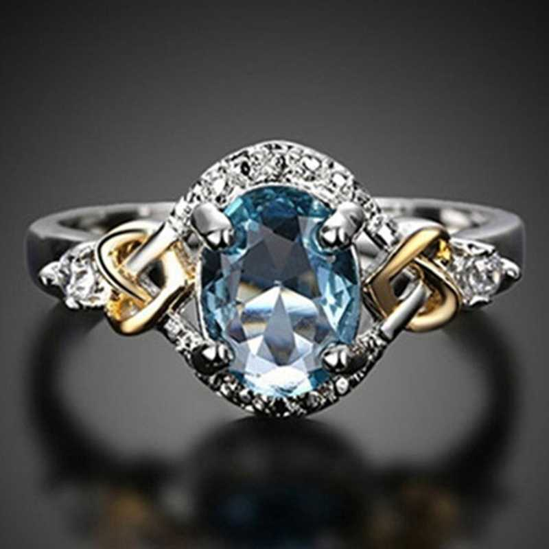Putri Batu Permata Cincin Biru Kristal Biru Pertunangan Pernikahan Festival Cincin Wanita Aksesoris Liburan Dua Nada Konsentris Cincin