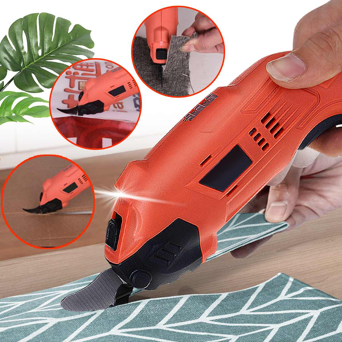 220V Electric Cordless Scissors Tailors Cutter Cutting Machine With 2 Blades Cutting LED Workinglight Multipurpose Power Tool|Electric Scissors| |  - title=