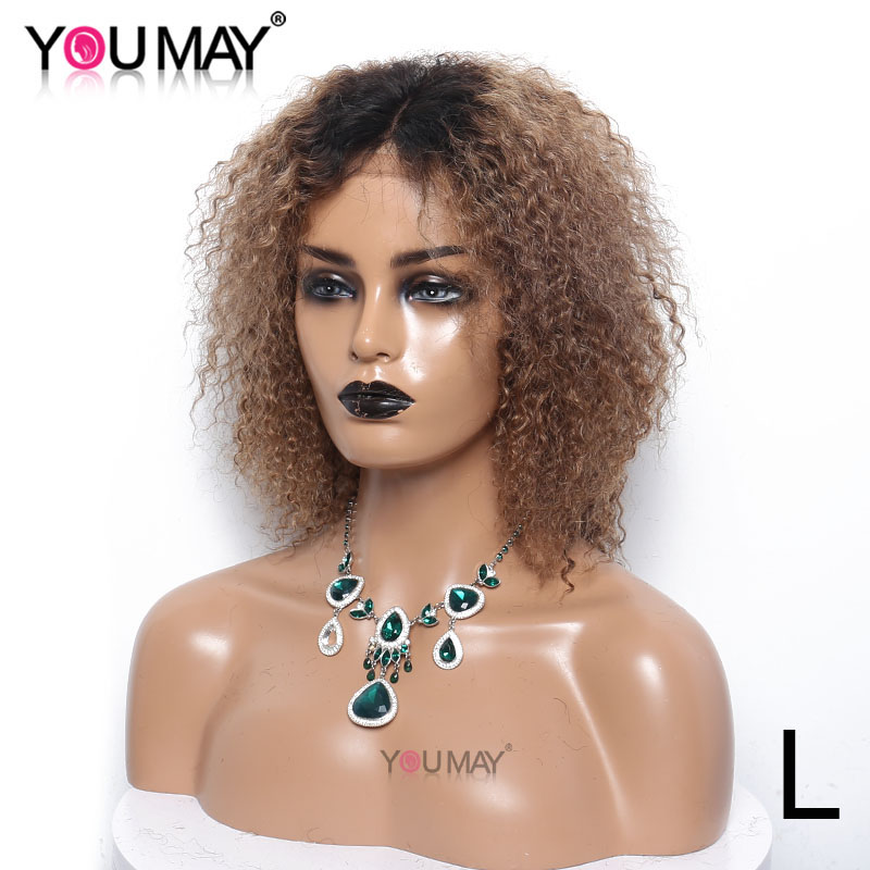 Colored Short Bob Curly Wigs For Women 1b 27 Lace Closure Human Hair Wigs 150% 4X4 Kinky Curly Closure Wig You May Remy Hair