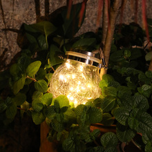 Outdoor Solar Garden Light Glass Jar Crack Light Balcony Garden Layout Decor Hanging Lamp Night Light LED Copper Wire Lamp D30