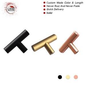 Ручки для ящика шкафа UKE, Т-образные ручки с одним отверстием цвета розового золота, матовый черный латунный Цвет 50 мм