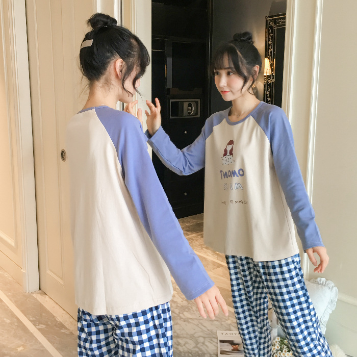Pajamas Women's Spring And Autumn Long Sleeve Students Korean-style Fresh Cute Plaid Casual Tracksuit 9814 # M -Xxl