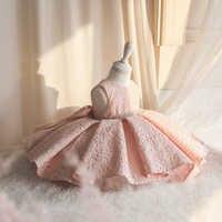 Vestido de encaje con cuentas para niña, vestidos de tul rosa para bautismo, Princesa, primer año, fiesta de cumpleaños, boda, desfile de bebé, ropa