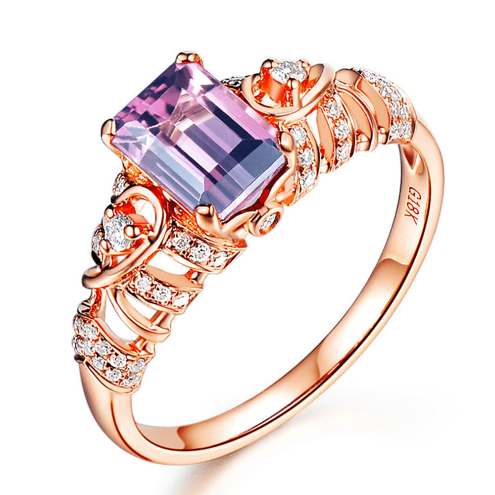 Rose gold ruby & amethyst gemstone ring for women red & purple crystal stone zircon diamonds party luxury jewelry wedding band