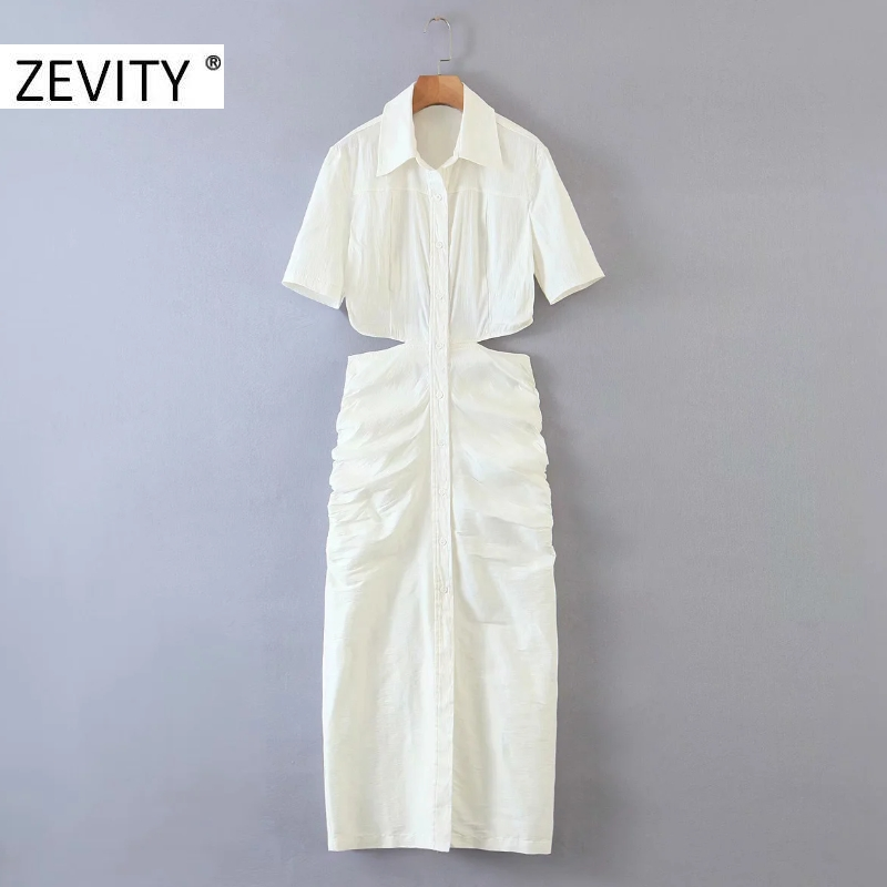 ZEVITY women sexy waist cut off hollow out pleated slim shirtdress ladies short sleeve casual vestidos chic party dresses DS4243