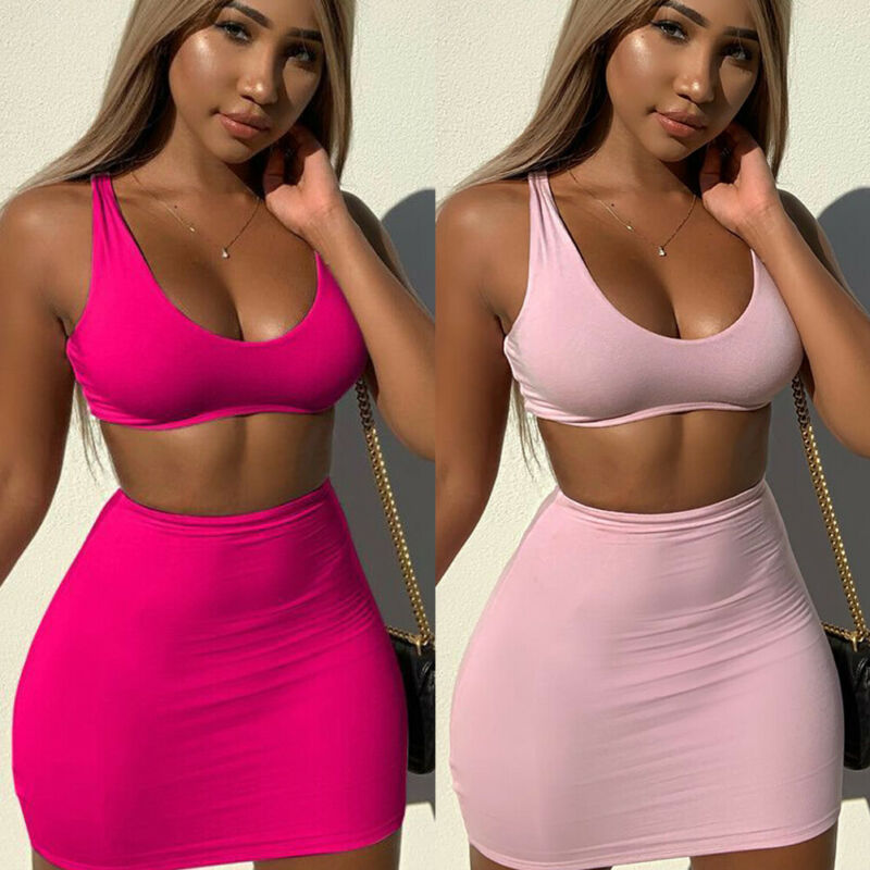 Two piece New summer solid women Clubwear clothes outfits fashion sleeveless crop top + pencil short skirts Sexy femme slim set
