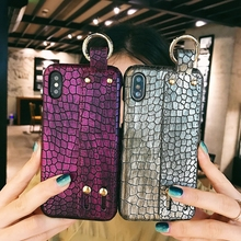 Luxury Hand Holder Case For iPhone 7 8 Plus XR Crocodile Wristband Leather For iPhone  XS MAX X Xs 6 6s Business Protection printio pop will eat itself unspoilt by progress