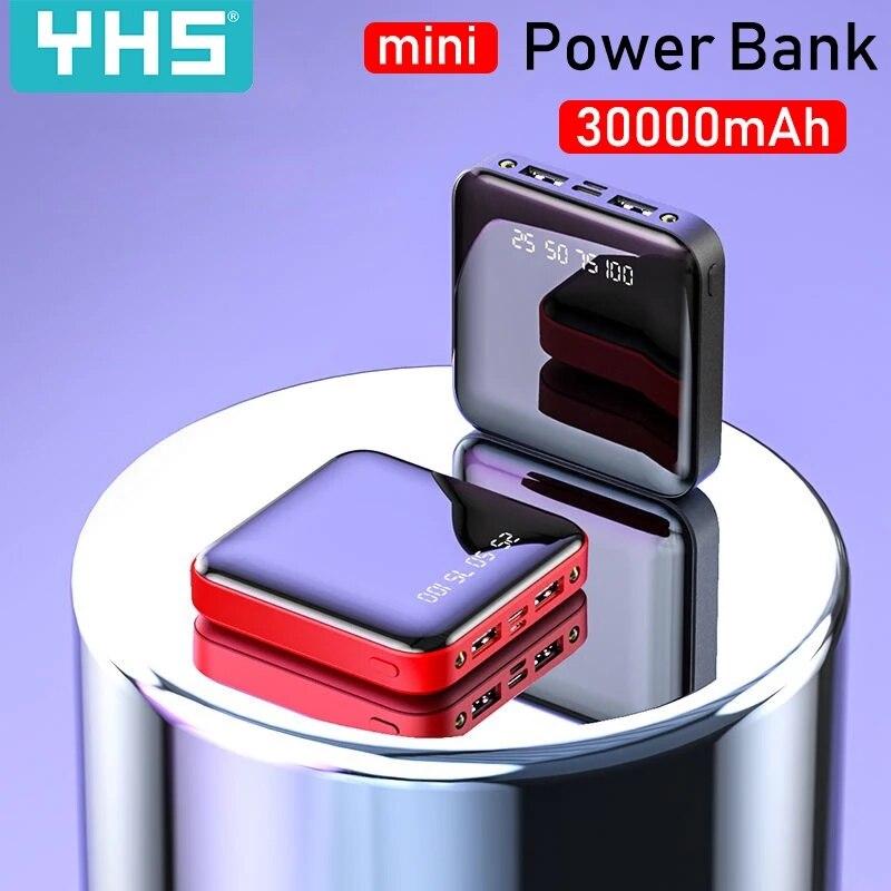 Мини-пауэрбанк 30000 мАч для iPhone X Xiaomi Mi, портативное зарядное устройство, зарядное устройство с двумя Usb-портами, внешняя батарея, портативное ...