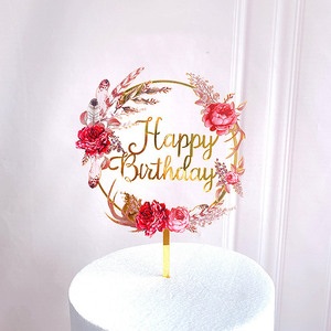 New Colored flowers Happy Birthday Cake Topper Golden Acrylic Birthday party Dessert decoration for Baby shower Baking supplies