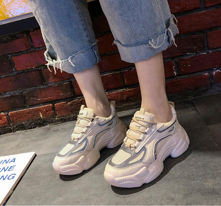 YeddaMavis Shoes Beige Daddy Shoes Women Shoes Women Sneakers New Korean Muffin Bottom Shoes Lace Up Womens Shoes Woman Trainers in Women 39 s Vulcanize Shoes from Shoes