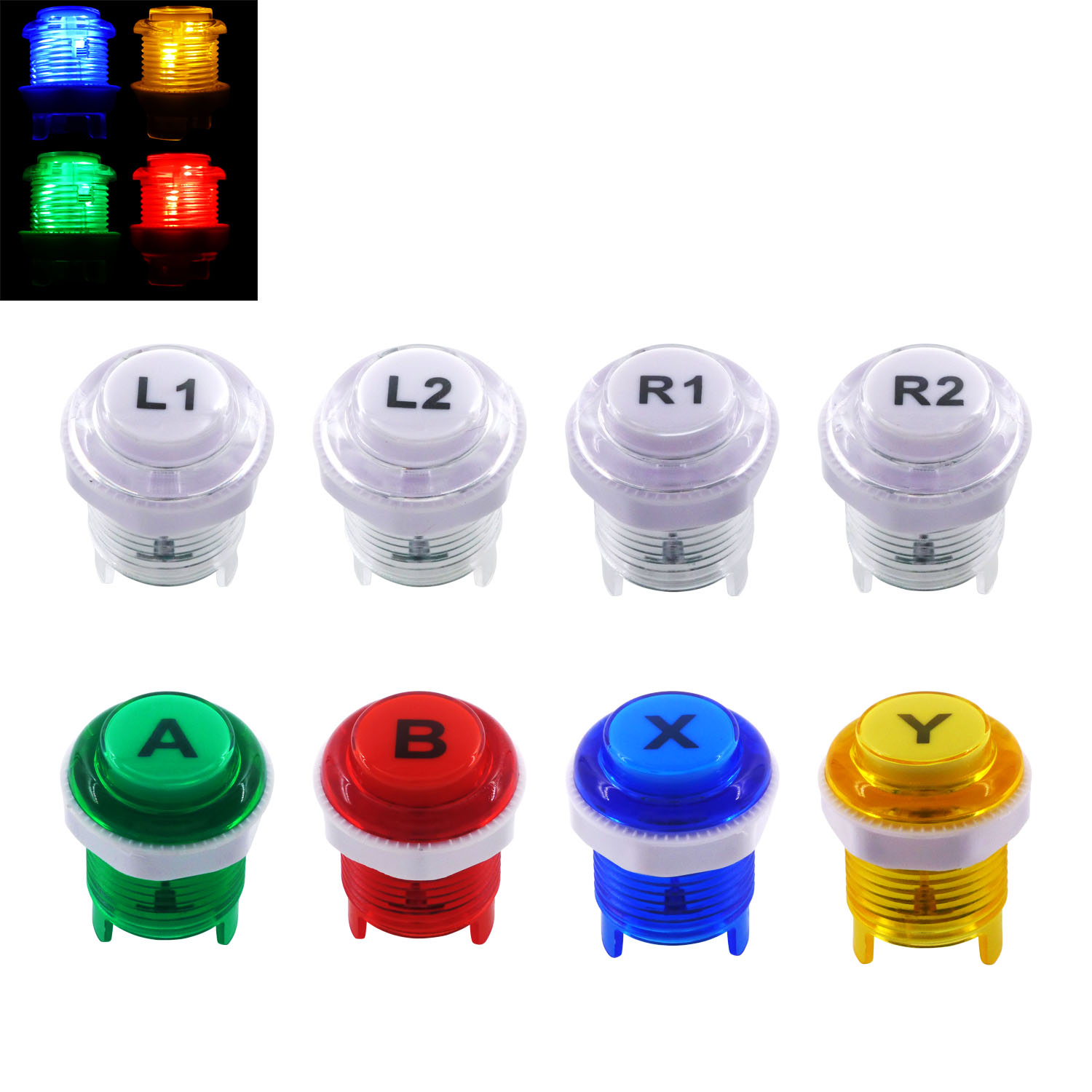 SJ@JX 8 PCS Arcade Game LED Push Buttons with Cherry MX Microswitch Logo X Y Start Select for PC MAME Raspberry Pi