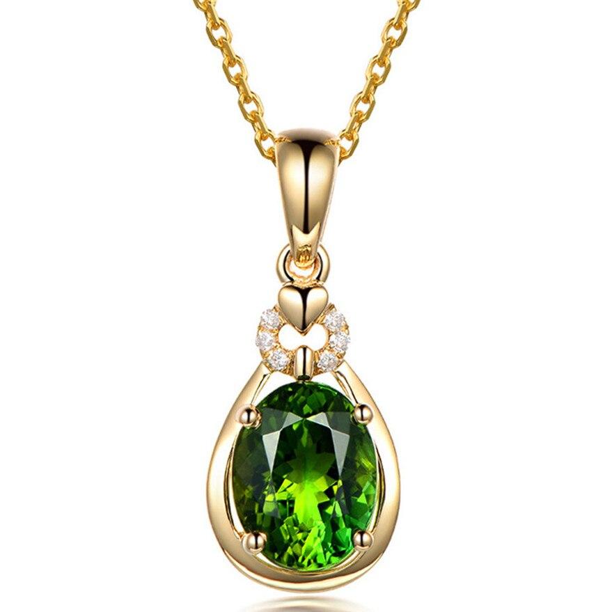 14k Gold Emerald Small Pendant Necklace For Women Green Crystal Stone Zircon Diamonds Luxury Vintage Feast Party Jewelry Choker