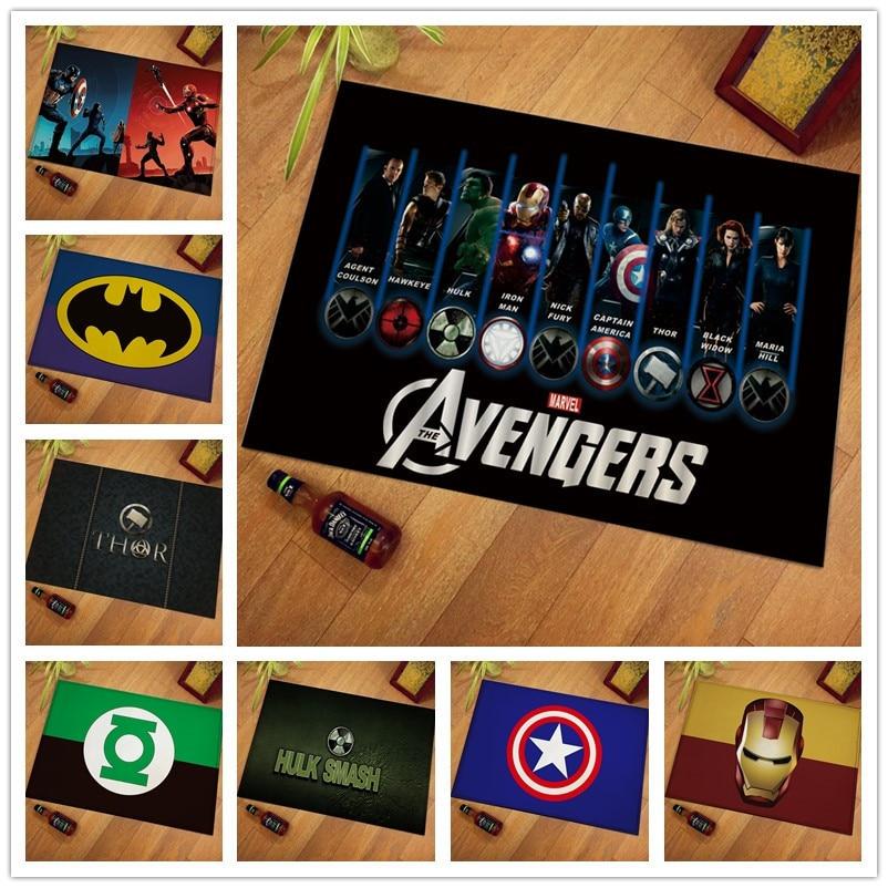 60x40cm Floor Mat Fashion Creative Spiderman The Avengers Printed Footpad Kitchen Bathroom Mats  Gift Flannel Floor Mat