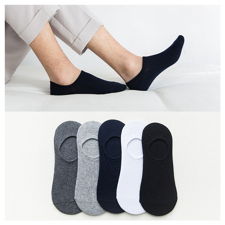 5 Pairs Mens No Show Socks Men Low Cut Non-slip Invisible Casual Loafer Boat Line Comfy Cotton Socks