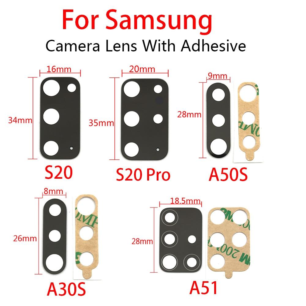 20Pcs Rear Back Camera Glass Lens For Samsung  A30S A50S A51 A12 A21 A31 A31S A71 M31S S20 Pro Plus fe With Glue Adhesive