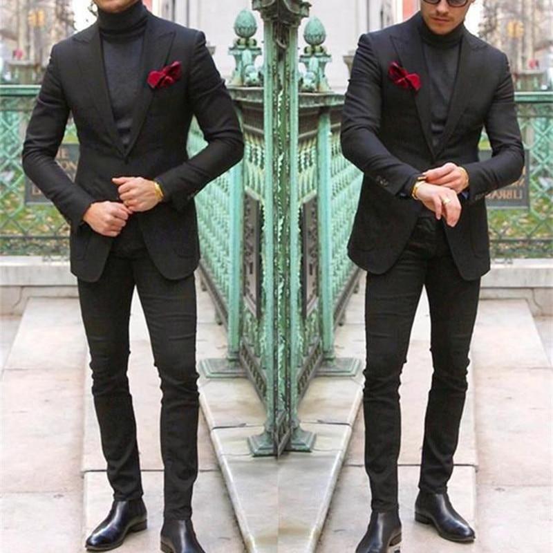 Elegante dos Homens Feito sob Encomenda do Casamento Jaqueta + Calças Terno Preto Duas Peças Smoking Magro Ajuste Masculino Formal Wear