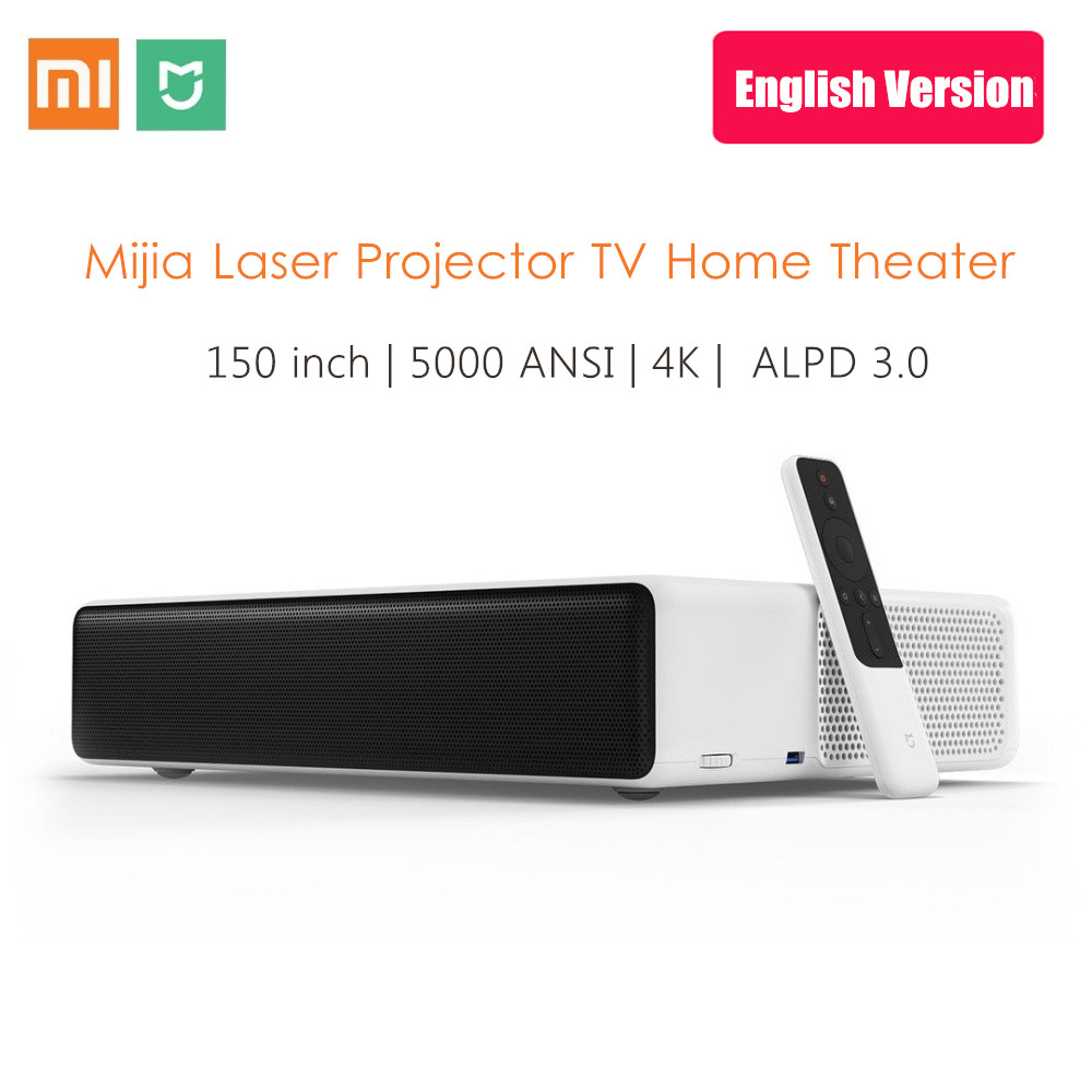 English Version Xiaomi Mijia Ultra Short Throw Laser Projector 150 Inch 5000 ANSI 1080P 4K Android Home TV Theater WiFi BT