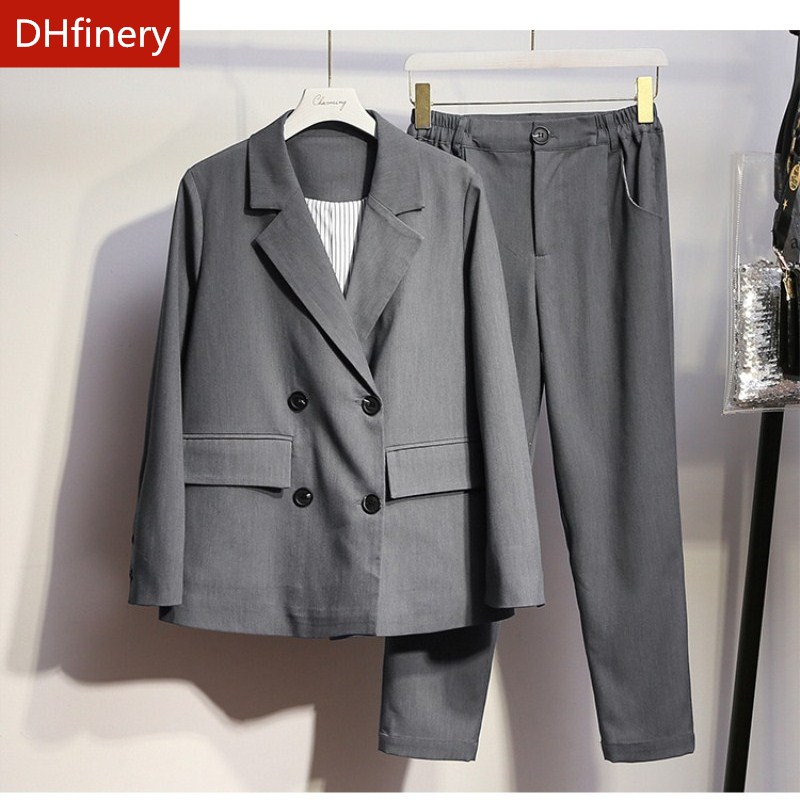 DHfinery Women Skirt Pants And Jackets Sets Gray Work Wear Suit For Bust 108-132CM 50-100kg Spring Autumn Lady Suit XL-5XL H550