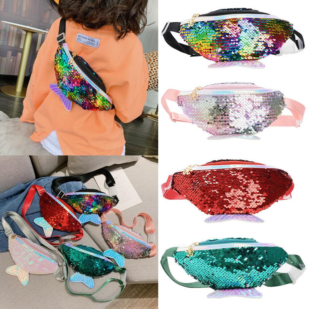 New Cute Baby Toddler Girl Waist Bag Mermaid Fishtail Sequins Fanny Pack Fashion Chest Bag Mini Purse